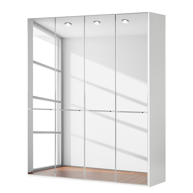 goedkoop Draaideurkast Chicago I Wit glas spiegelglas 200cm 4 deurs 236cm Wiemann