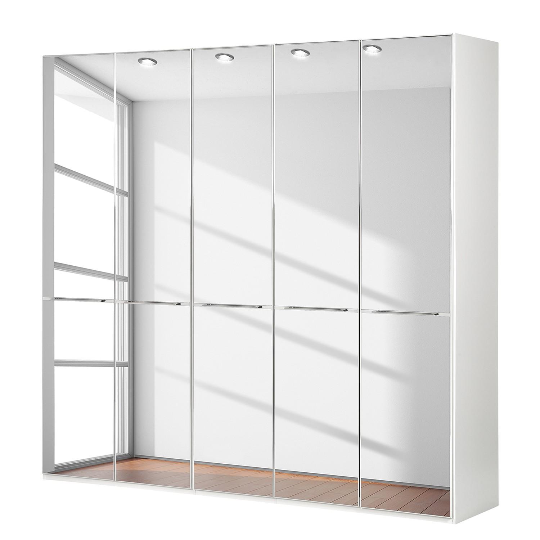 goedkoop Draaideurkast Chicago I Alpinewit spiegelglas 250cm 5 deurs 236cm Wiemann