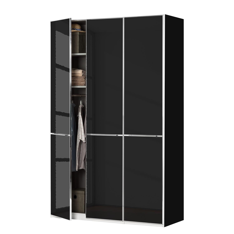 goedkoop Draaideurkast Chicago I Zwart glas 150cm 3 deurs 236cm Wiemann