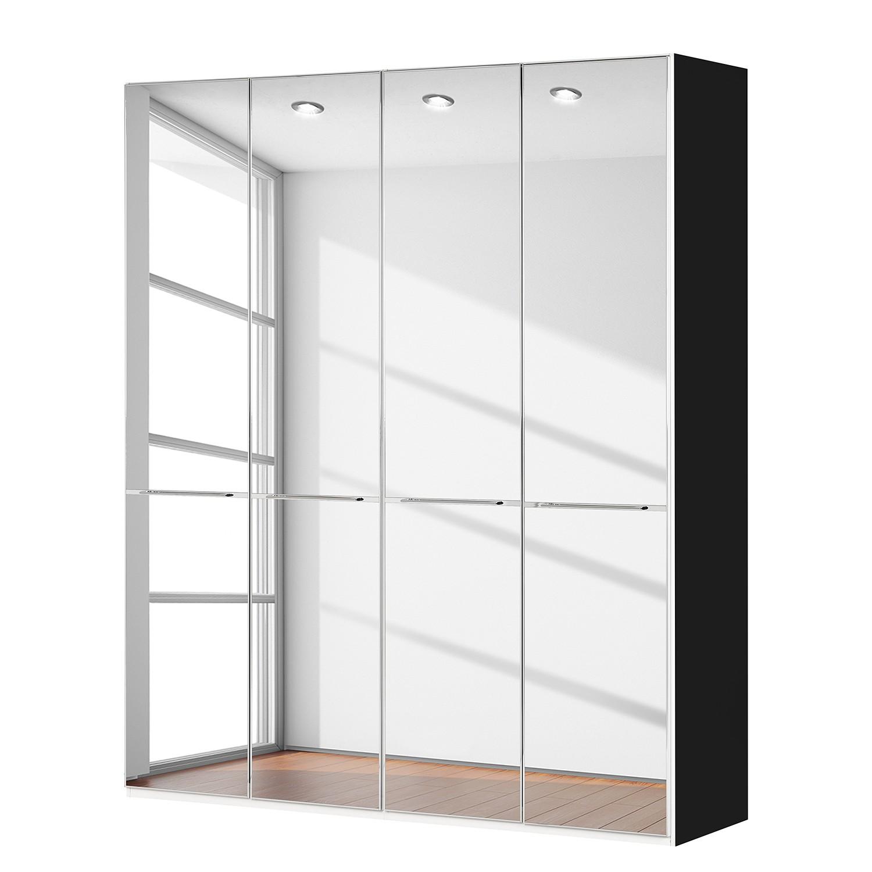 goedkoop Draaideurkast Chicago I Zwart spiegelglas 200cm 4 deurs 236cm Wiemann