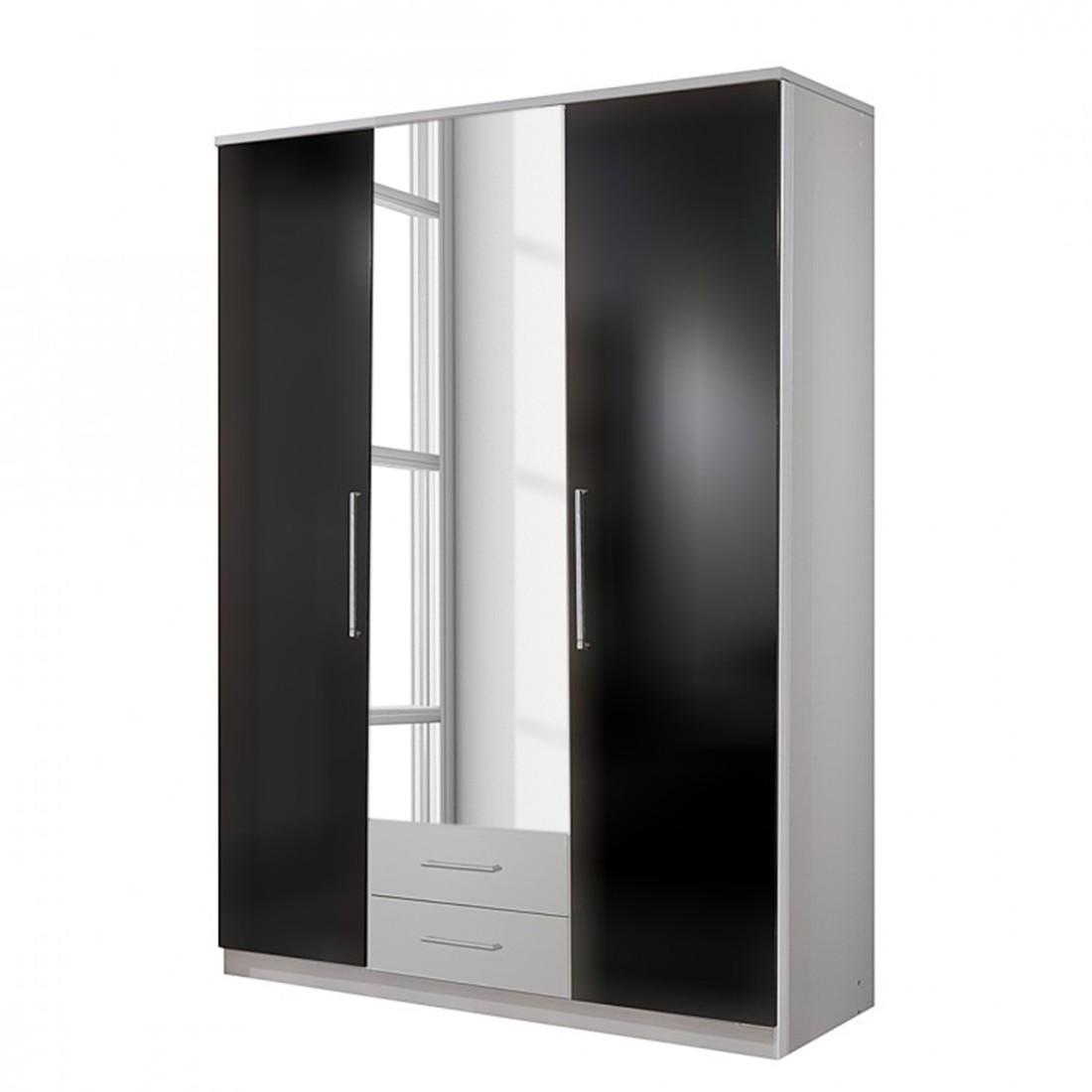 goedkoop Draaideurkast Claudine met spiegel parelglans zwart alpinewit 135cm 3 deurs 2 lades Wimex