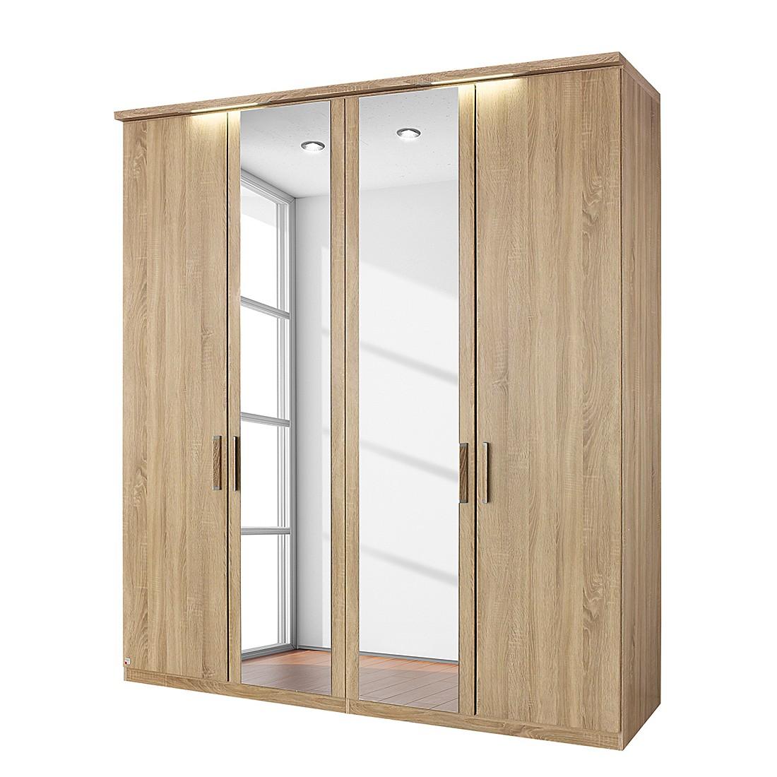 goedkoop energie A+ Draaideurkast Evelyn I Sonoma eikenhouten look Met verlichting 250cm 5 deurs 223cm Met kroonlijst Rauch Dialog