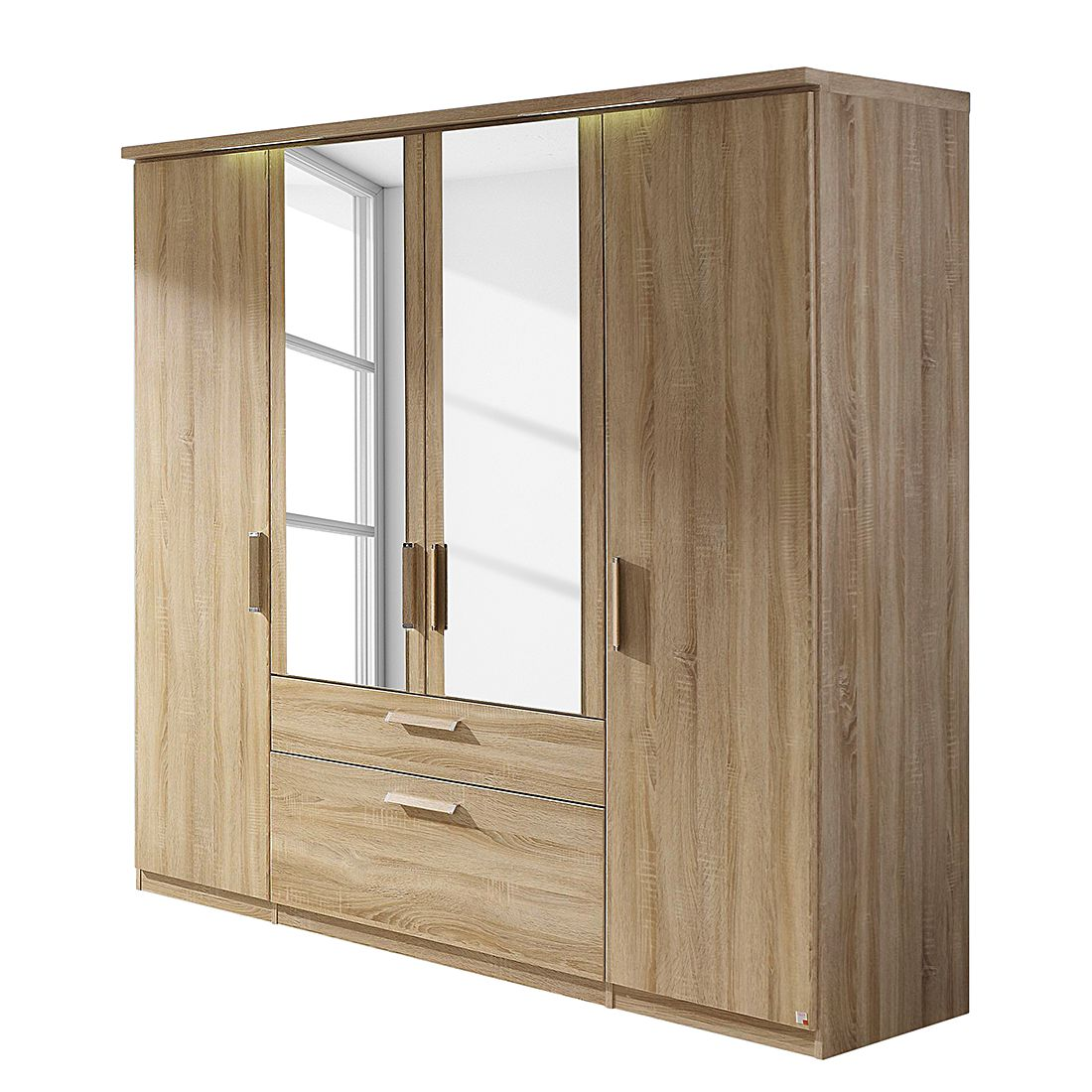 goedkoop energie A+ Draaideurkast Evelyn II Sonoma eikenhouten look Met verlichting 151cm 3 deurs 197cm Met kroonlijst Rauch Dialog