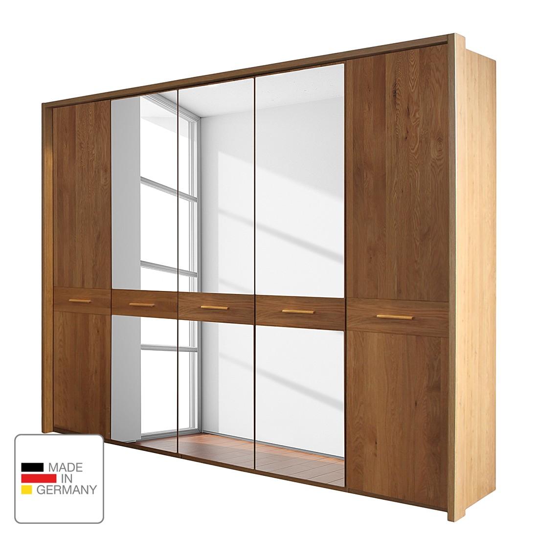 goedkoop Draaideurkast Faro gelakt deels massief eikenhout 250cm 5 deurs 3 spiegeldeuren Met Passe partout lijst Wiemann
