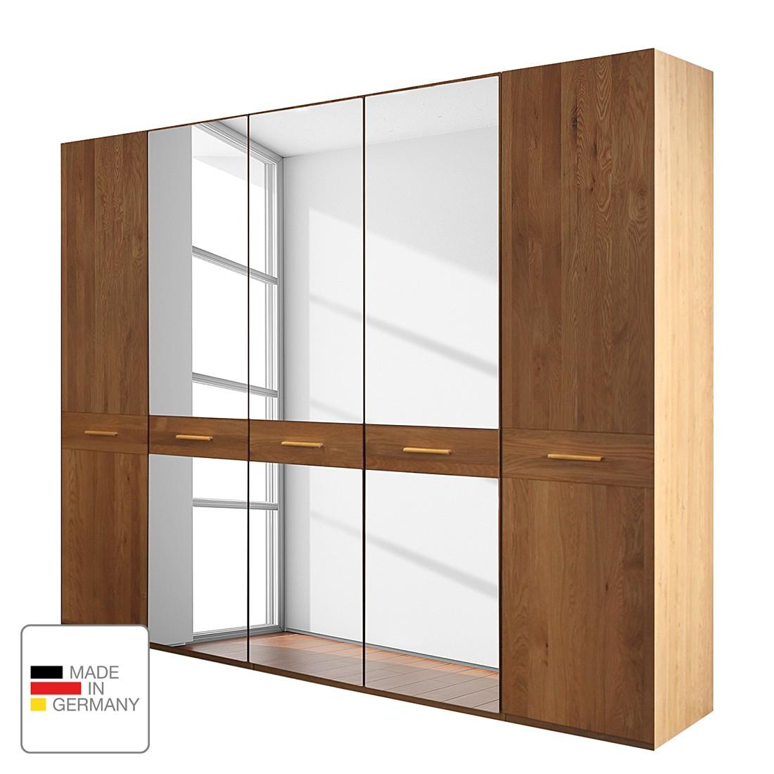 goedkoop Draaideurkast Faro gelakt deels massief eikenhout 250cm 5 deurs 3 spiegeldeuren Zonder Passe partout lijst Wiemann