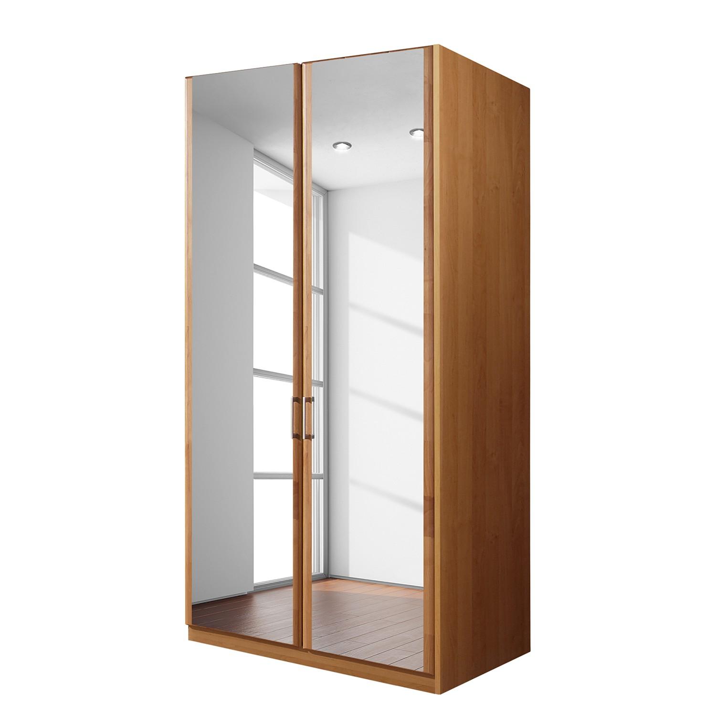 goedkoop Draaideurkast Florenz deels massief elzenhout 100cm 2 deurs 2 spiegeldeuren Zonder Passe partout lijst Wiemann