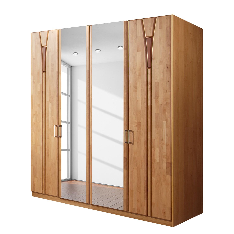 goedkoop Draaideurkast Florenz deels massief elzenhout 200cm 4 deurs 2 spiegeldeuren Zonder Passe partout lijst Wiemann