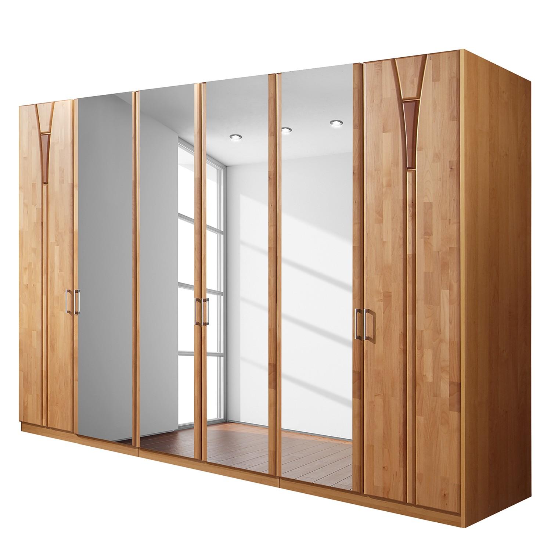 goedkoop Draaideurkast Florenz deels massief elzenhout 300cm 6 deurs 4 spiegeldeuren Zonder Passe partout lijst Wiemann