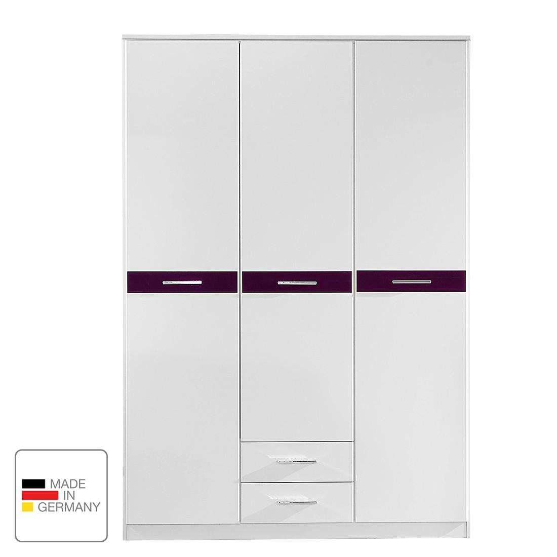 Armoire à portes battantes Gina - Blanc alpin / Couleur mûre brillante - 135 cm (3 portes) - 2 tiroirs, Wimex