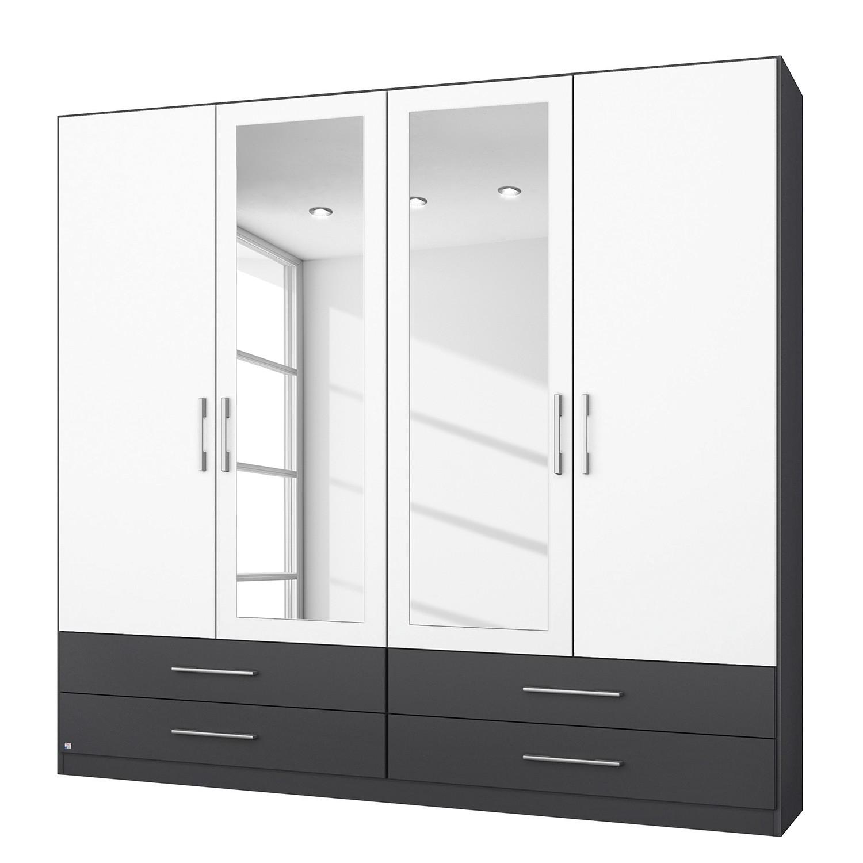 goedkoop Draaideurkast Hersbruck Extra Wit Grijs metallic 181cm 4 deurs 2 spiegeldeuren Rauch Packs