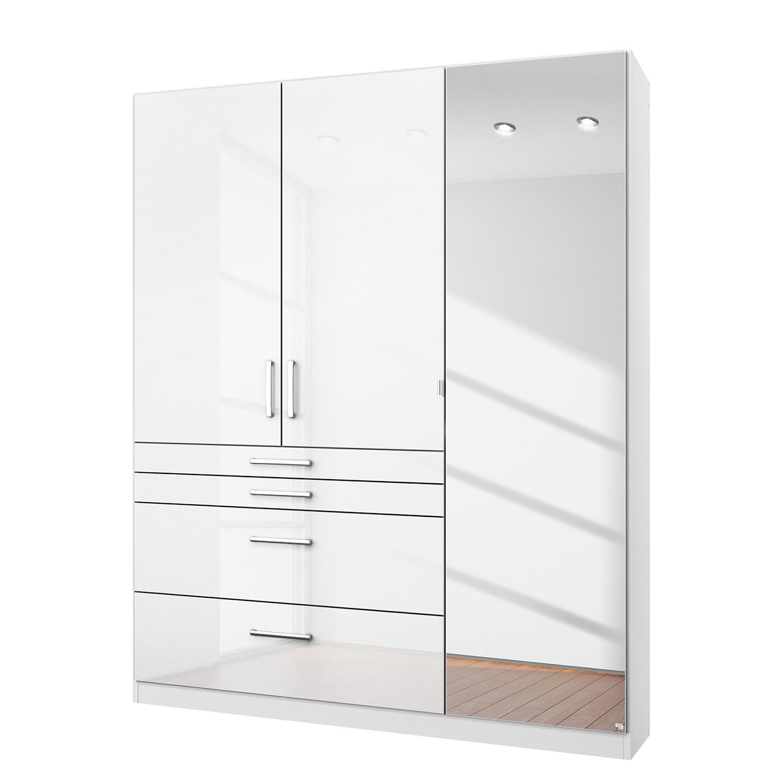 goedkoop Draaideurkast Homburg I Hoogglans alpinewit 136cm 3 deurs Met spiegeldeuren Rauch Packs