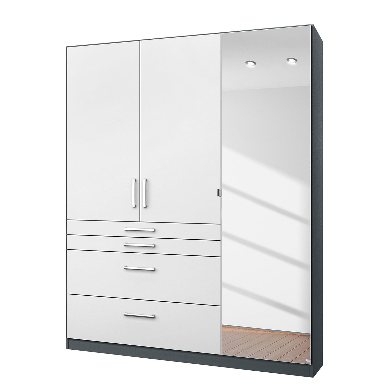 goedkoop Draaideurkast Homburg II Metallic grijs 136cm 3 deurs Met spiegeldeuren Rauch Packs