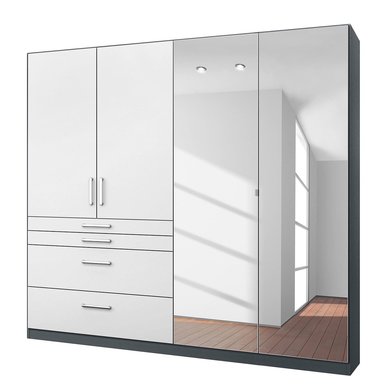 goedkoop Draaideurkast Homburg II Metallic grijs 181cm 4 deurs Met spiegeldeuren Rauch Packs
