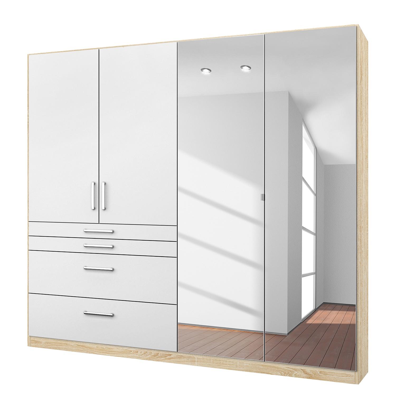 goedkoop Draaideurkast Homburg II Wit Sonoma eikenhouten look 181cm 4 deurs Met spiegeldeuren Rauch Packs