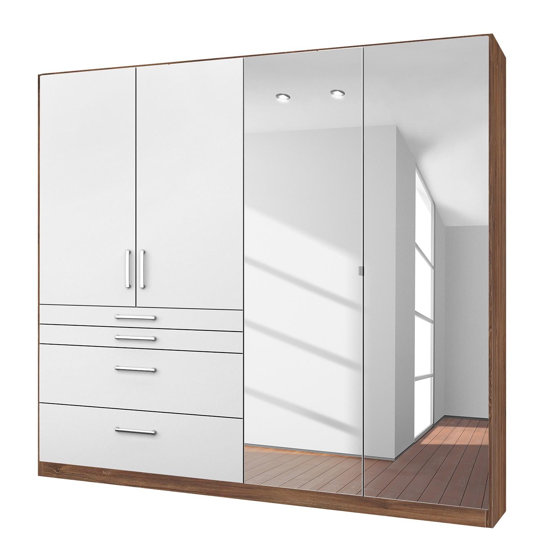 goedkoop Draaideurkast Homburg II Wit Stirling eikenhouten look 181cm 4 deurs Met spiegeldeuren Rauch Packs