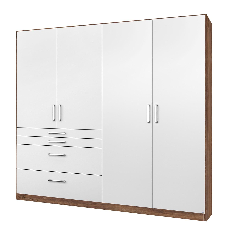 goedkoop Draaideurkast Homburg II Wit Stirling eikenhouten look 181cm 4 deurs Zonder spiegeldeuren Rauch Packs