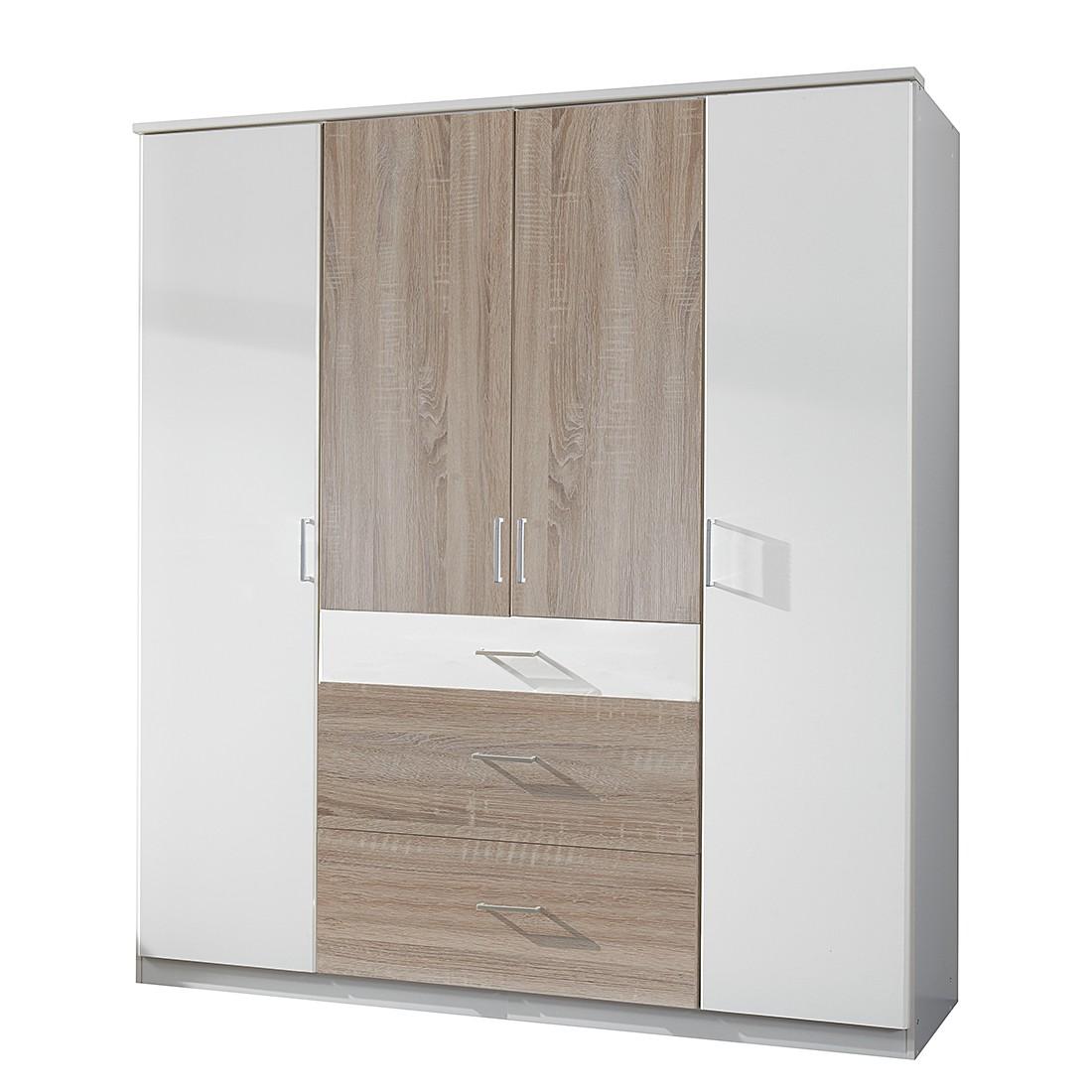 goedkoop Draaideurkast Click III Alpinewit Grof gezaagd eikenhouten look Zonder spiegeldeuren Wimex