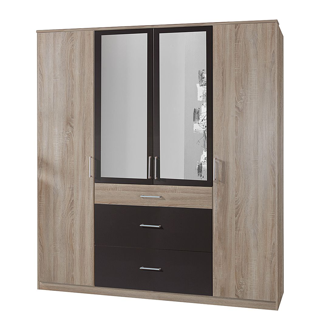 goedkoop Draaideurkast Click III Grof gezaagd eikenhouten look grafiet Met spiegeldeuren Wimex
