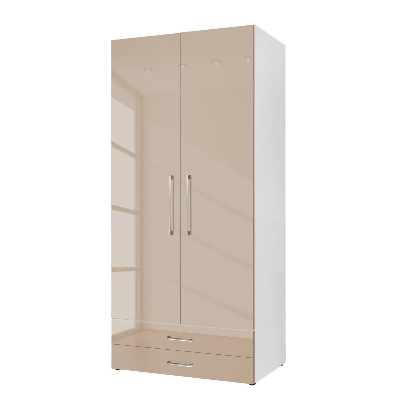 goedkoop Draaideurkast KSW Hoogglans zandgrijs 100 cm 2 deurs 2 lades WelleMobel