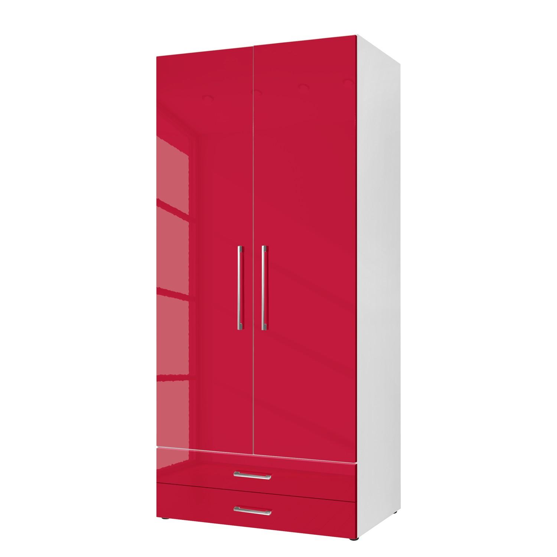 goedkoop Draaideurkast KSW Hoogglans robijnrood 100 cm 2 deurs 2 lades WelleMobel
