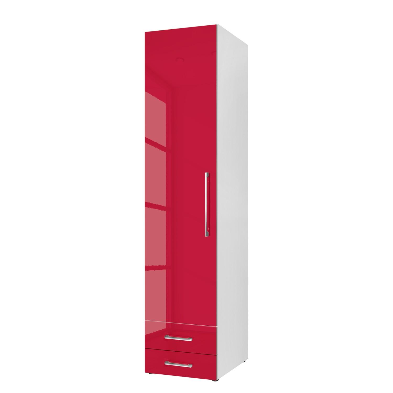 goedkoop Draaideurkast KSW Hoogglans robijnrood 50 cm 1 deurs scharnieren links 2 lades WelleMobel