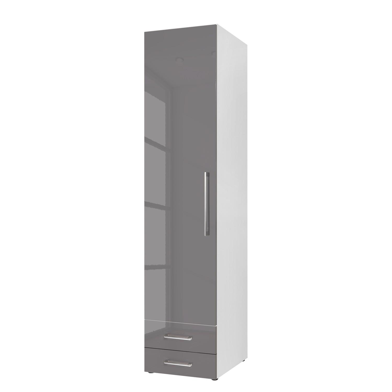 Armoire à portes battantes KSW - Gris lava brillant - 50 cm (1 portes) - butoir à gauche - 2 tiroirs, Wellemöbel