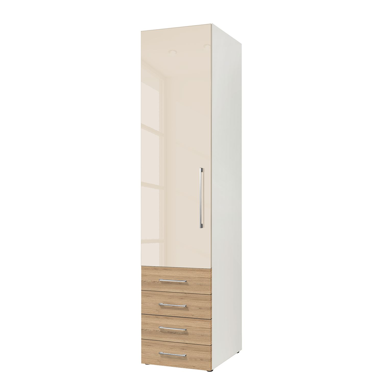 goedkoop Draaideurkast KSW Hoogglans macchiato wildeiken 50 cm 1 deurs scharnieren links 4 lades WelleMobel