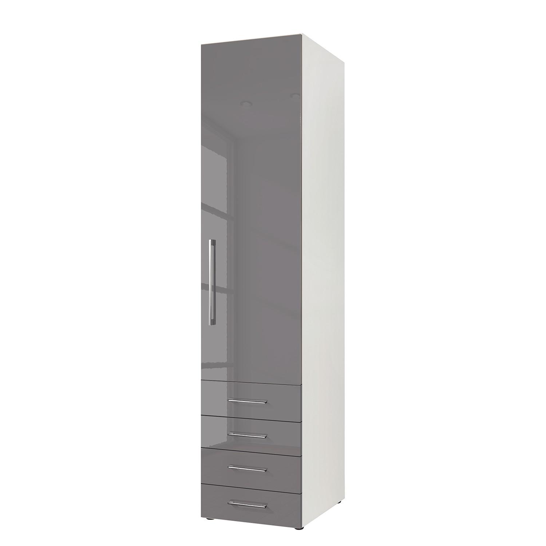 goedkoop Draaideurkast KSW Hoogglans lavagrijs 50 cm 1 deurs scharnieren rechts 4 lades WelleMobel