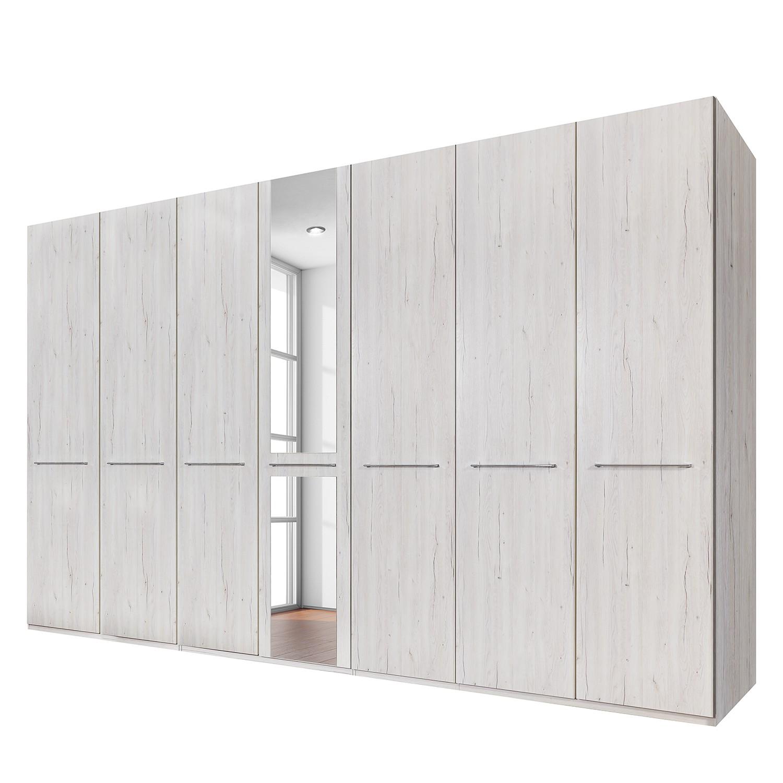 goedkoop Draaideurkast Madrid wit eikenhouten look 350cm 7 deurs 1 spiegeldeur Zonder Passe partout lijst Wiemann