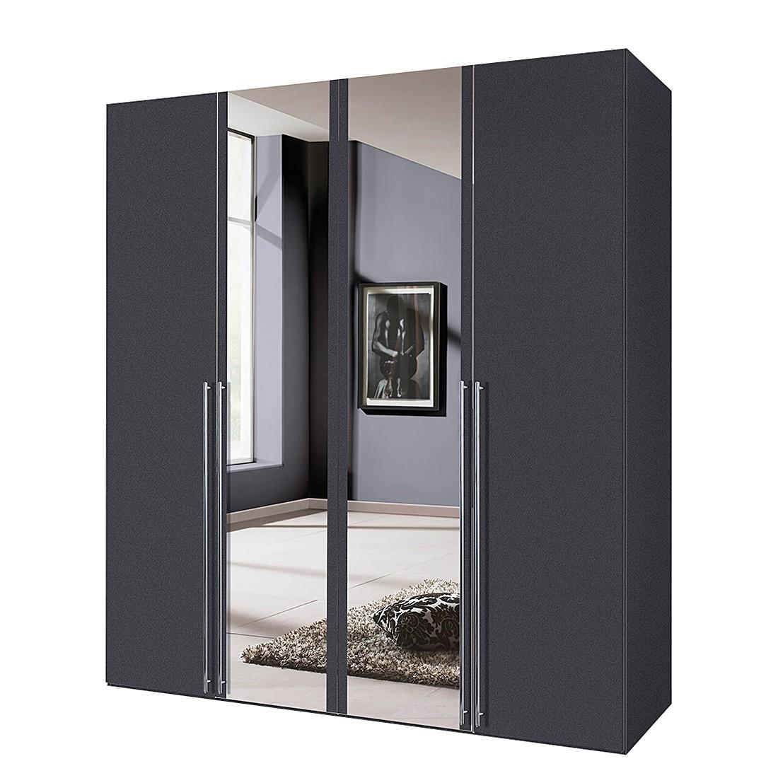 goedkoop Draaideurkast Brooklyn VII grafiet spiegel 200cm 4 deurs 216cm Express Mobel