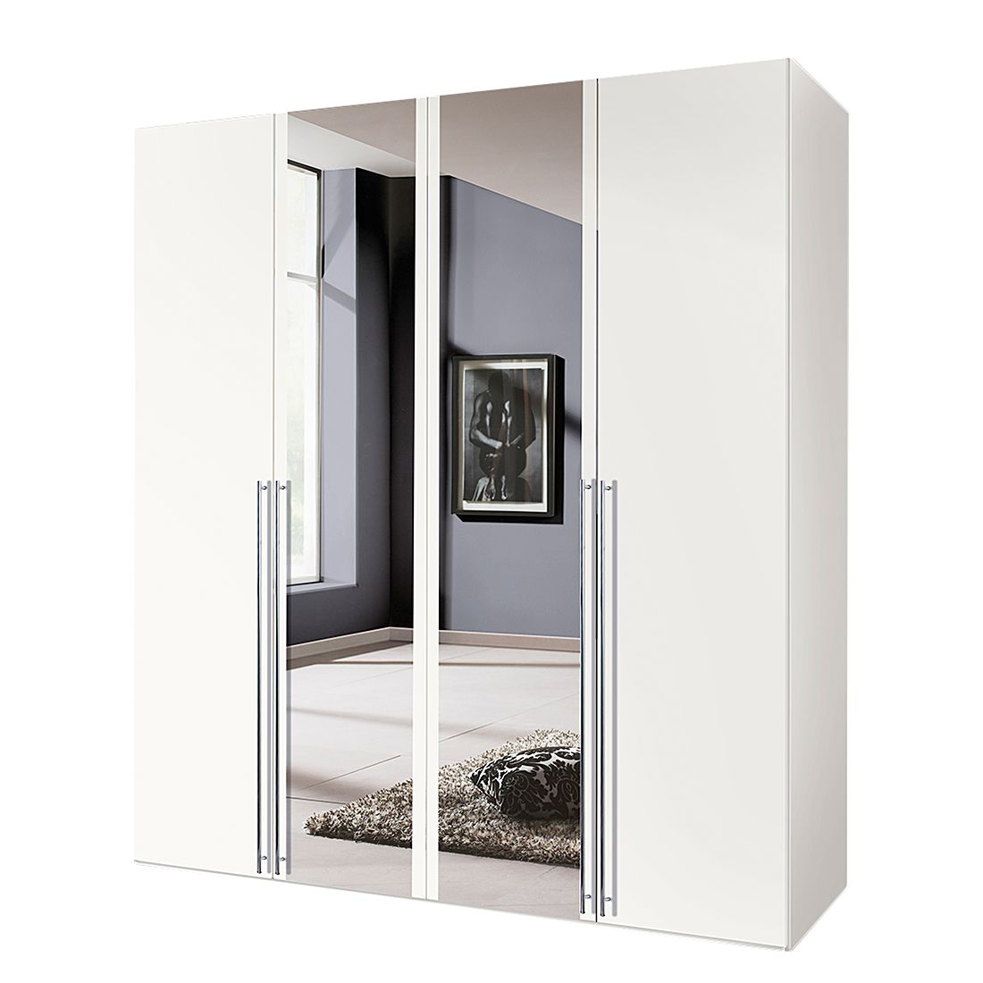 goedkoop Draaideurkast Brooklyn II wit spiegel 200cm 4 deurs 216cm Express Mobel