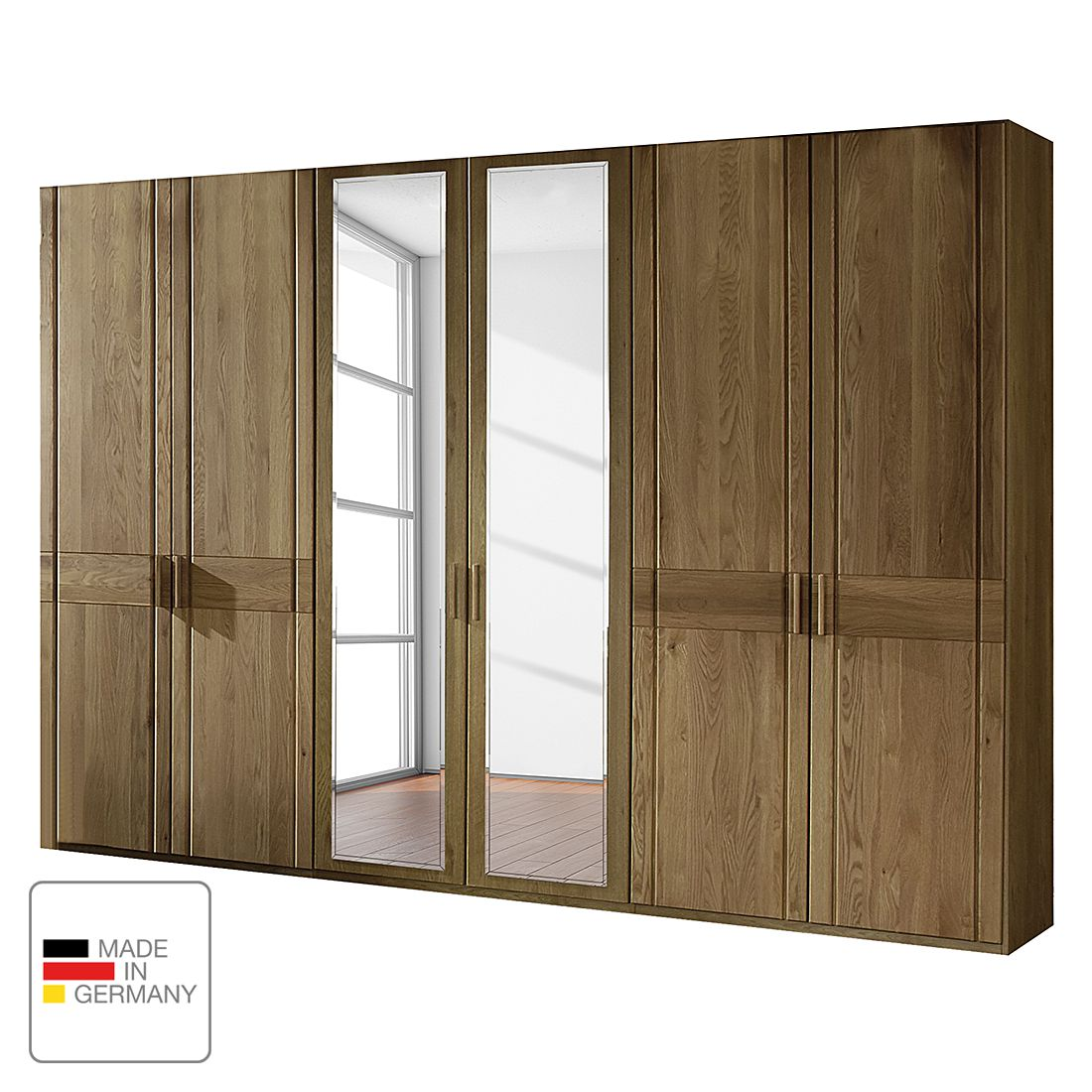 goedkoop Draaideurkast Münster deels massief eikenhout Zonder verlichting 100cm 2 deurs 1 spiegeldeur scharnieren liks Zonder kroonlijst Wiemann