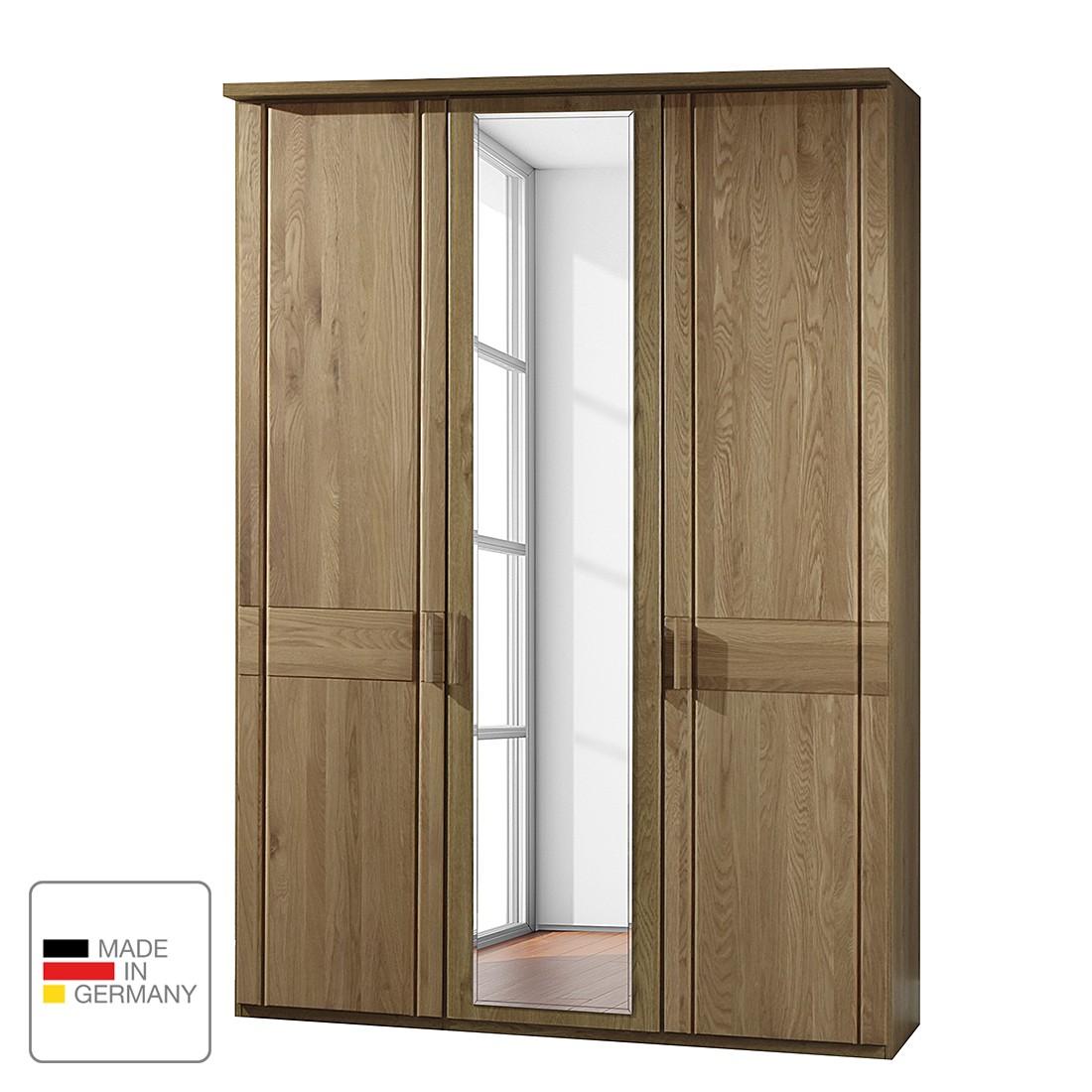 goedkoop Draaideurkast Münster deels massief eikenhout Zonder verlichting 200cm 4 deurs 2 spiegeldeuren Met kroonlijst Wiemann