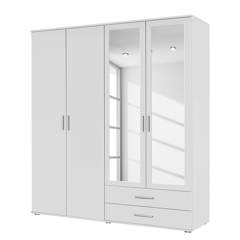 Draaideurkast Rasant Alpinewit 168cm (4 deurs) 2 spiegeldeuren, Rauch Packs