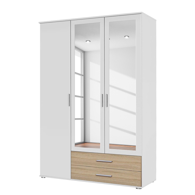 goedkoop Draaideurkast Rasant Extra Alpinewit Sonoma eikenhoutkleurig 127cm 3 deurs 2 spiegeldeuren Rauch Packs