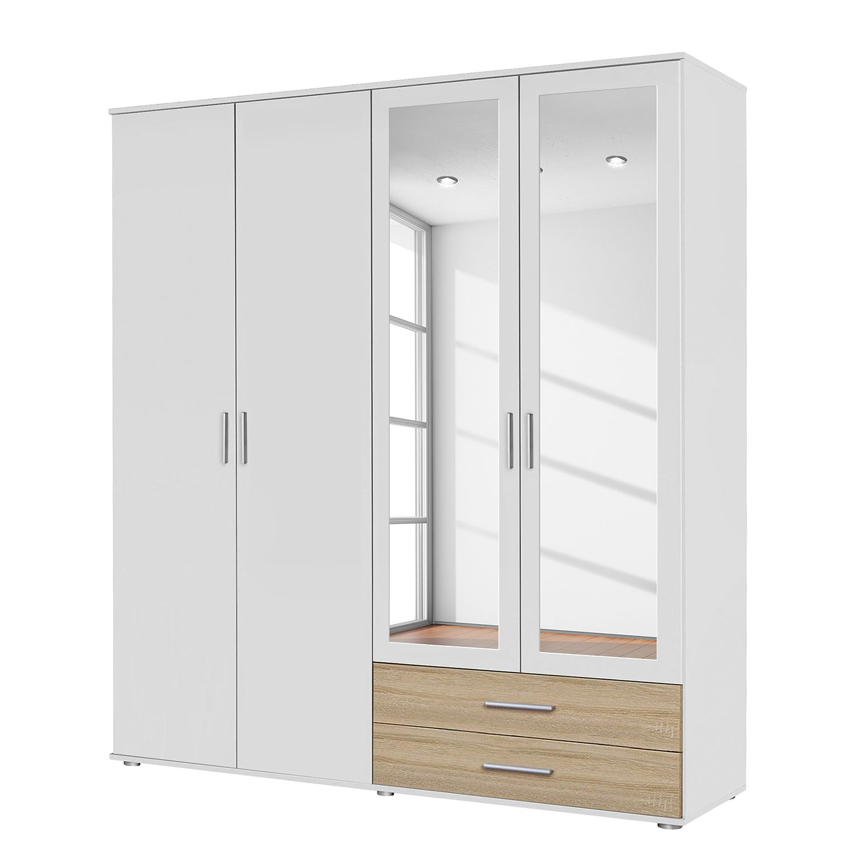 goedkoop Draaideurkast Rasant Extra Alpinewit Sonoma eikenhoutkleurig 168cm 4 deurs 2 spiegeldeuren Rauch Packs