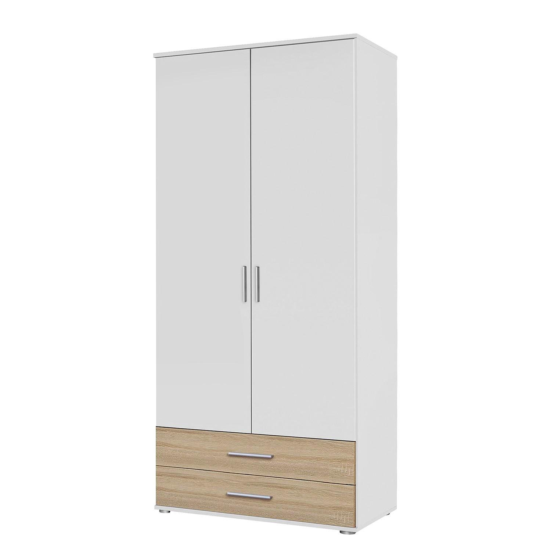 goedkoop Draaideurkast Rasant Extra Alpinewit Sonoma eikenhoutkleurig 85cm 2 deurs 2 lades Zonder spiegeldeuren Rauch Packs