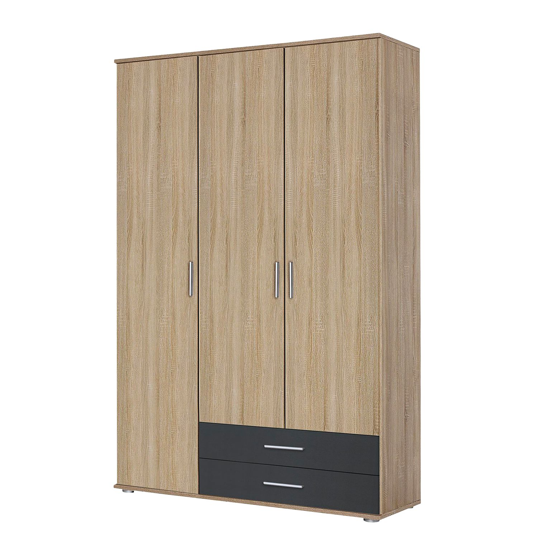 goedkoop Draaideurkast Rasant Extra Antracietkleurig Sonoma eikenhouten look 127cm 3 deurs Zonder spiegeldeuren Rauch Packs