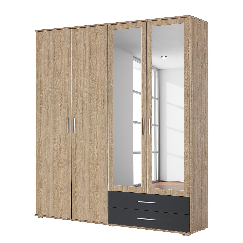 goedkoop Draaideurkast Rasant Extra Antracietkleurig Sonoma eikenhouten look 168cm 4 deurs 2 spiegeldeuren Rauch Packs