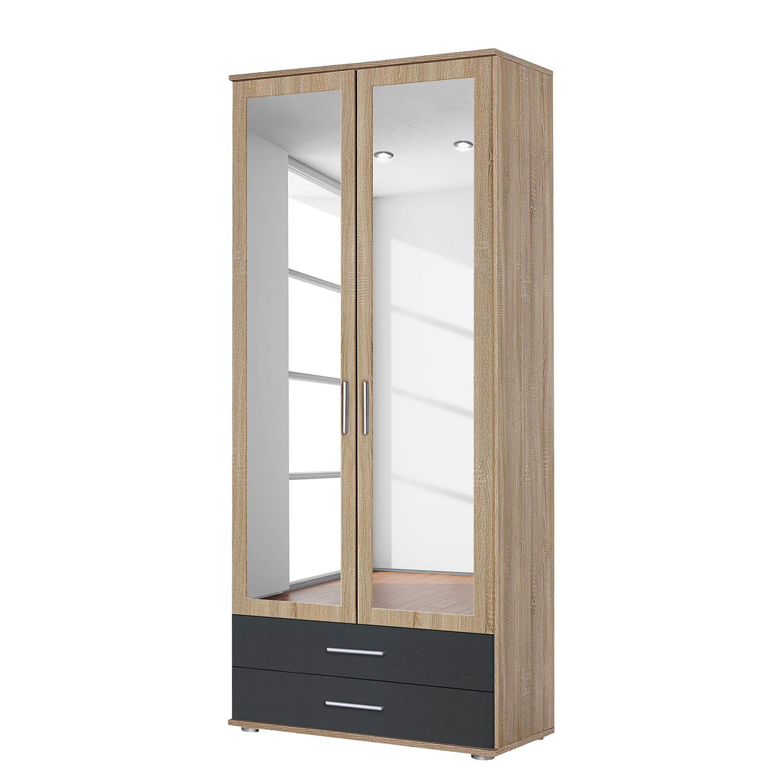 goedkoop Draaideurkast Rasant Extra Antracietkleurig Sonoma eikenhouten look 85cm 2 deurs 2 lades 2 spiegeldeuren Rauch Packs