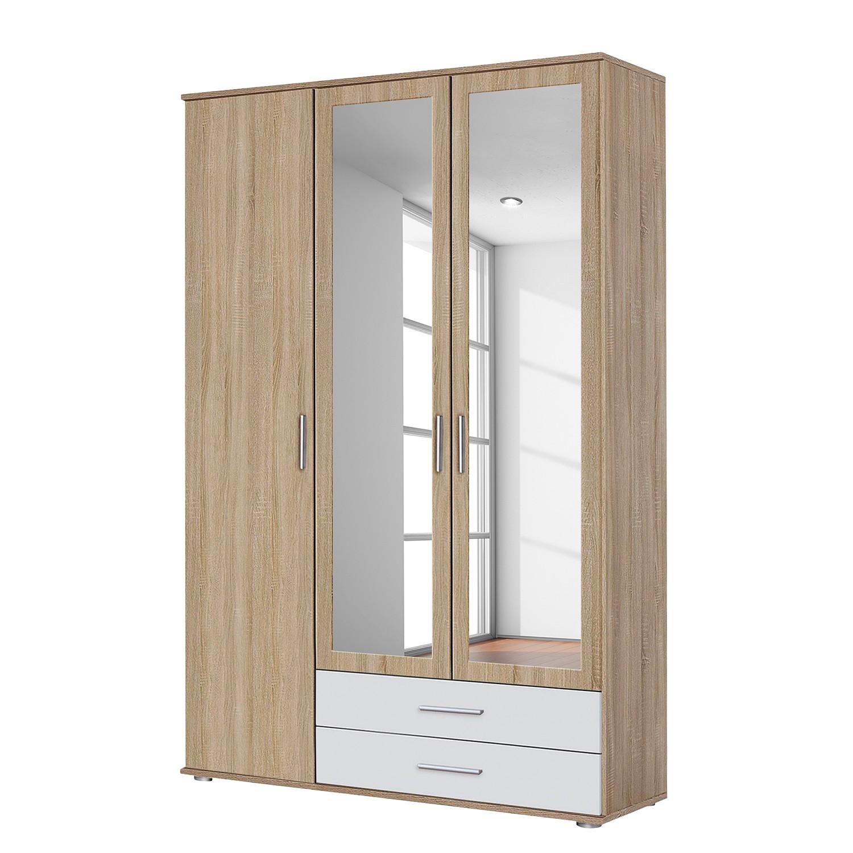 goedkoop Draaideurkast Rasant Extra Sonoma eikenhouten look alpinewit 127cm 3 deurs 2 spiegeldeuren Rauch Packs
