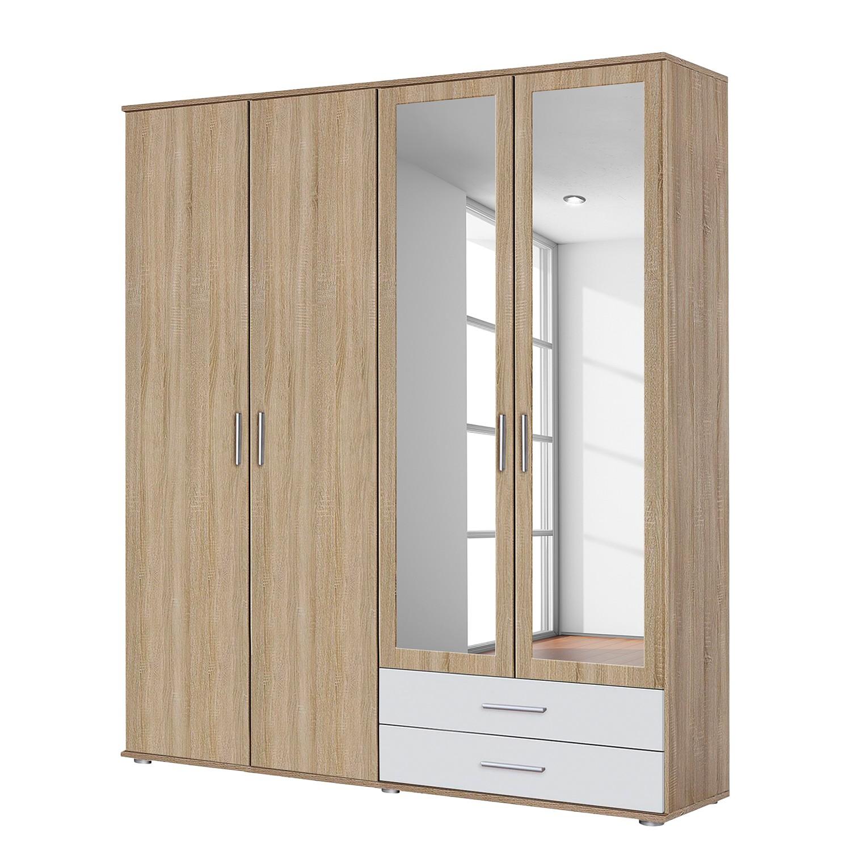 goedkoop Draaideurkast Rasant Extra Sonoma eikenhouten look alpinewit 168cm 4 deurs 2 spiegeldeuren Rauch Packs