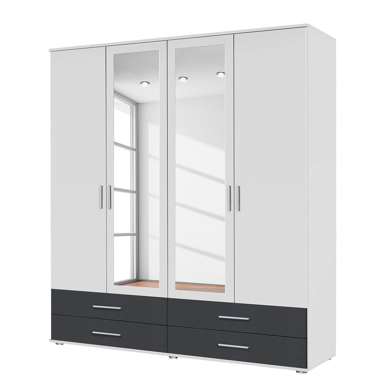 goedkoop Draaideurkast Rasant Extra I Alpinewit antraciet 168cm 4 deurs 2 spiegeldeuren Rauch Packs