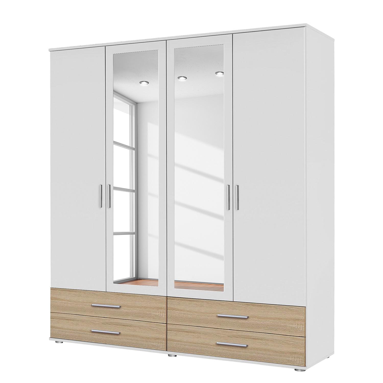 goedkoop Draaideurkast Rasant Extra I Alpinewit Sonoma eikenhoutkleurig 168cm 4 deurs 2 spiegeldeuren Rauch Packs