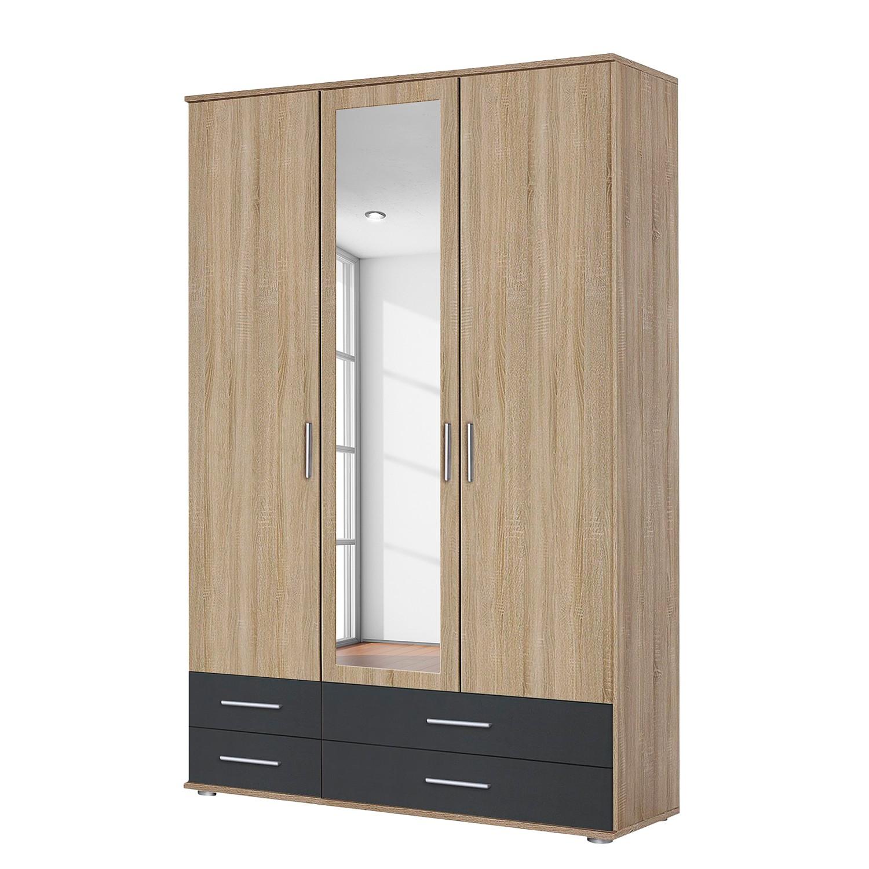 goedkoop Draaideurkast Rasant Extra I Antracietkleurig Sonoma eikenhouten look 127cm 3 deurs 1 spiegeldeur Rauch Packs
