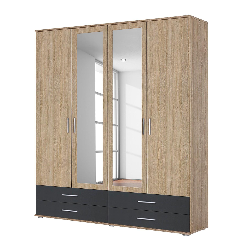 goedkoop Draaideurkast Rasant Extra I Antracietkleurig Sonoma eikenhouten look 168cm 4 deurs 2 spiegeldeuren Rauch Packs