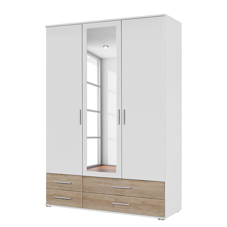 goedkoop Draaideurkast Rasant Extra I Lichte San Remo eikenhouten look alpinewit 127cm 3 deurs 1 spiegeldeur Rauch Packs