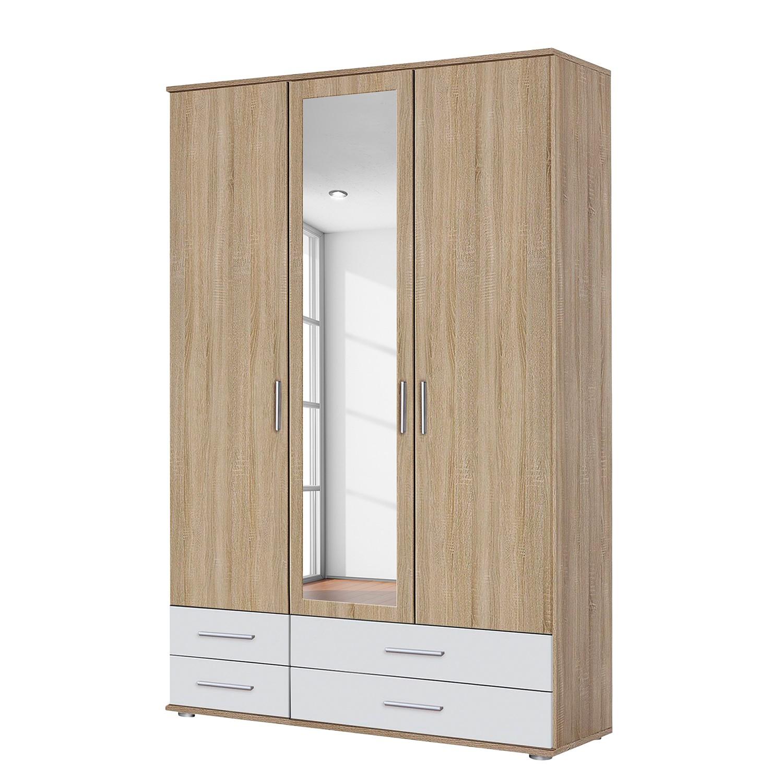 goedkoop Draaideurkast Rasant Extra I Sonoma eikenhouten look alpinewit 127cm 3 deurs 1 spiegeldeur Rauch Packs