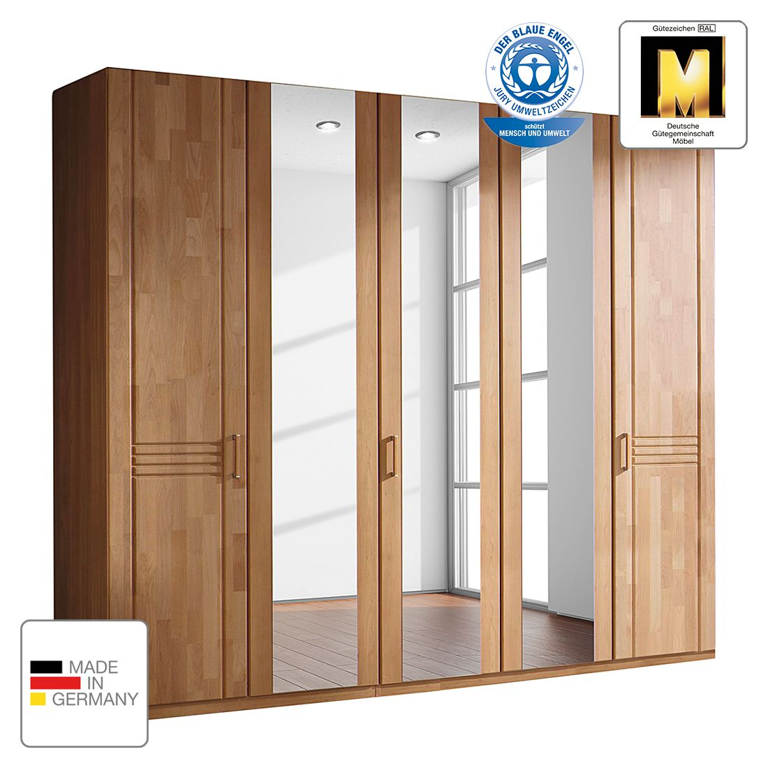 goedkoop Draaideurkast Savina Els 375cm 8 deurs 2 spiegeldeuren Zonder Passe partout lijst Rauch Steffen