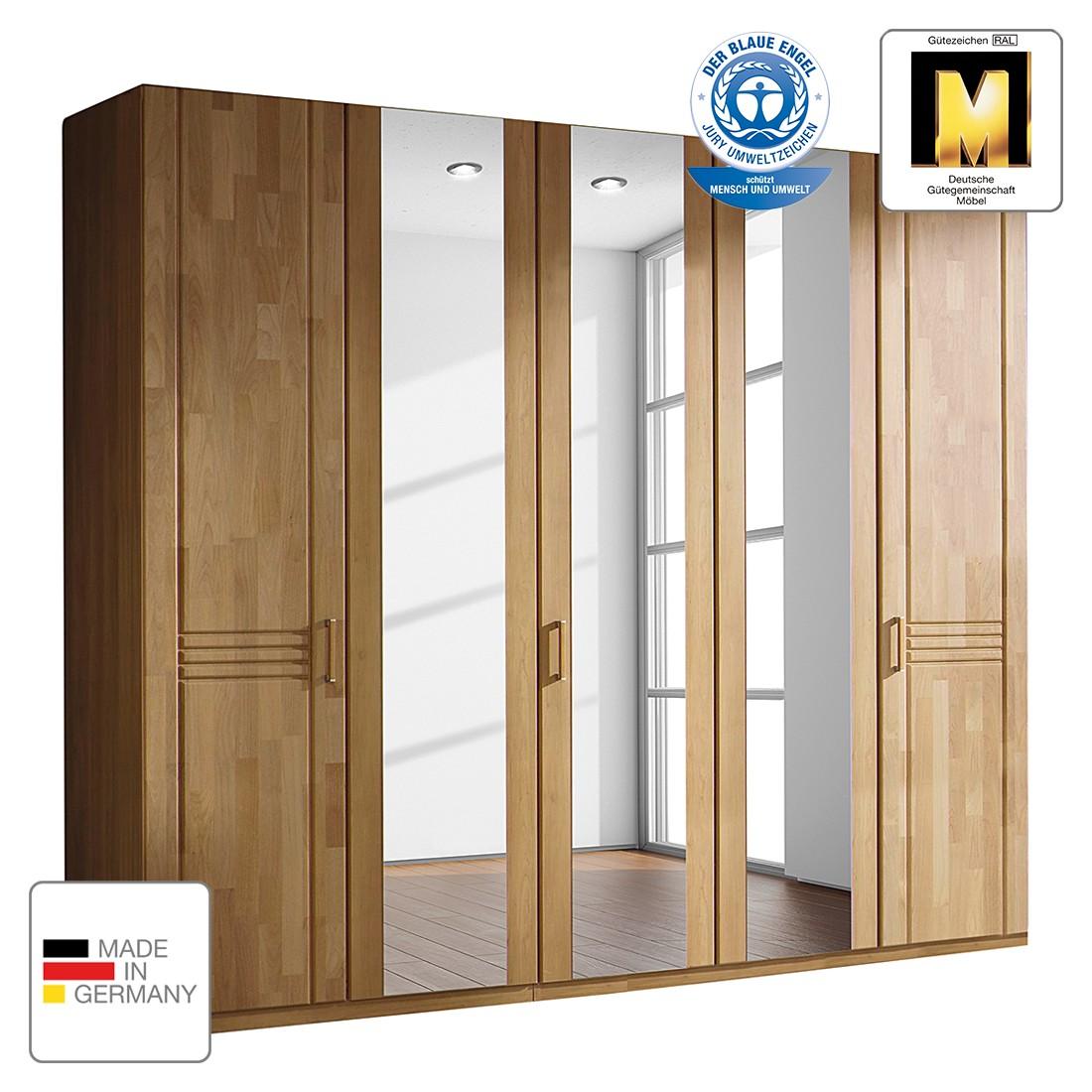 goedkoop Draaideurkast Savina Wild eikenhout 189cm 4 deurs 2 spiegeldeuren Zonder Passe partout lijst Rauch Steffen